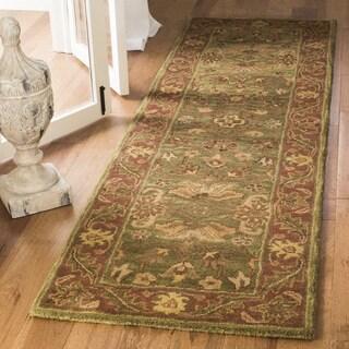 Safavieh Handmade Golden Jaipur Green/ Rust Wool Runner (2'3 x 16')