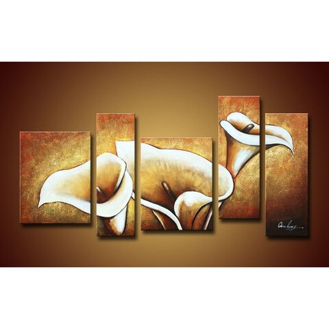 'Flowers' Oversized Hand-painted Oil on Canvas Art Set