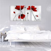 The Lighting Store 'Flowers' Hand-painted Oil on Canvas Art Set