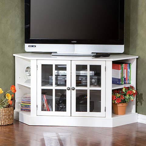 Crescent White Corner TV Stand