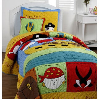 "Cottage Home ""Treasure Island"" Twin 3-Piece Quilt Set"