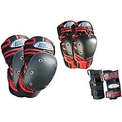 MBS Pro Tri-pack Large Red-and-black Cushioned Protective Pads - Thumbnail 0