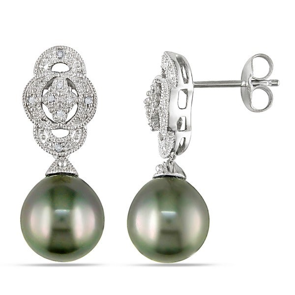 Miadora Silver Black Tahitian Pearl and Diamond Art Deco Earrings (9-10 mm)