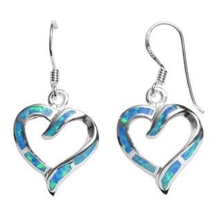 Journee Sterling Silver Created Blue Opal Heart Earrings