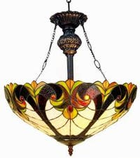 Tiffany-style Victorian Bronze Hanging Fixture