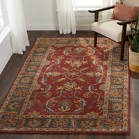Coliseum Rust Wool Handmade Traditional Border Area Rug (5' x 8')