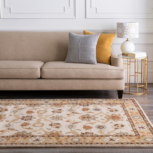Hand-tufted Traditional Coliseum Vanilla Floral Border Wool Area Rug - 7'6 x 9'6
