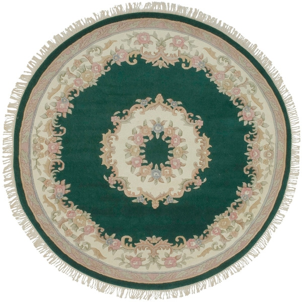 Hand-knotted Aubusson Wool Rug (5' Round)