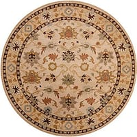 Hand-tufted Traditional Coliseum Vanilla Floral Border Wool Area Rug (6' Round)