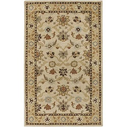 Hand-tufted Traditional Coliseum Vanilla Floral Border Wool Rug (4' Round)