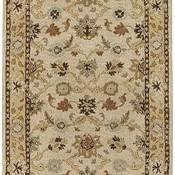 Hand-tufted Traditional Coliseum Vanilla Floral Border Wool Runner (3' x 12') - Thumbnail 1