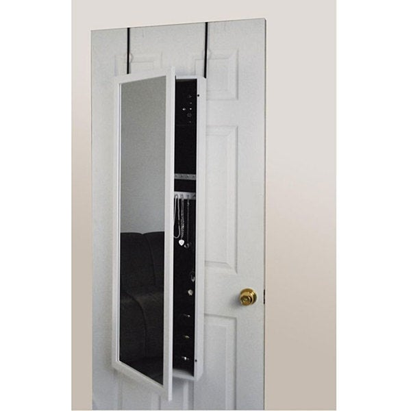 Over-the-Door Mirrored Jewelry Armoire White