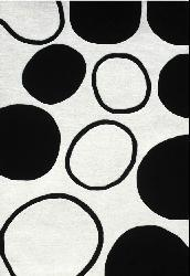 Hand-tufted Black Circle Wool Rug (6' x 9') - Thumbnail 1
