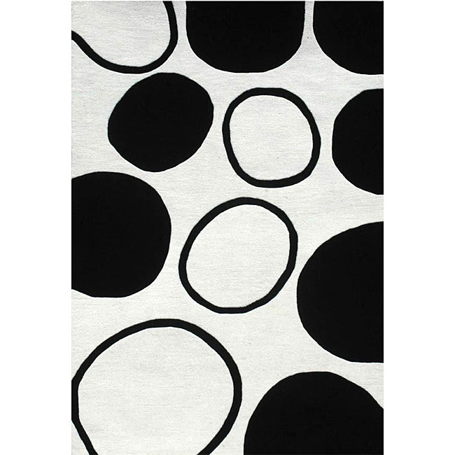 Hand-tufted Black Circle Wool Rug (6' x 9') - Thumbnail 0