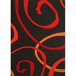 Hand-tufted Contempo Swirl Wool Rug (6' x 9') - Thumbnail 0