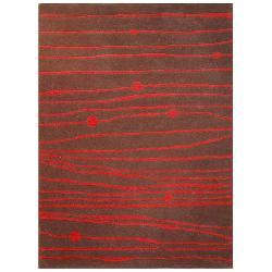 Hand-tufted Red Zoom Wool Rug (6' x 9')