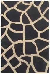 Hand-tufted Black Giraffe Wool Rug (6' x 9')