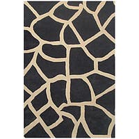 Hand-tufted Black Giraffe Wool Rug - 6' x 9'