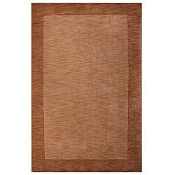 Hand-tufted Bordered Beige Wool Rug (6' x 9') - Thumbnail 0