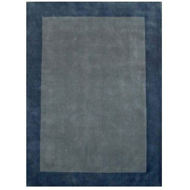 Hand-tufted Bordered Blue Wool Rug (6' x 9')