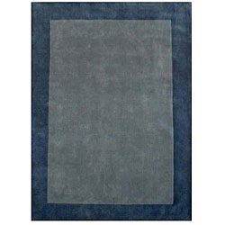 Hand-tufted Bordered Blue Wool Rug (6' x 9') - Thumbnail 0