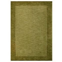 Hand-tufted Bordered Green Wool Rug (6' x 9')