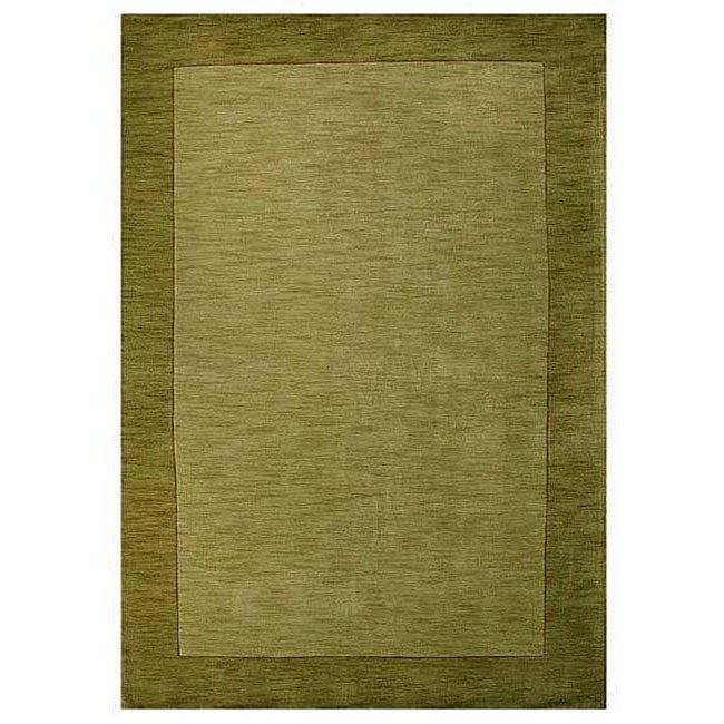 Hand-tufted Bordered Green Wool Rug - 6' x 9'