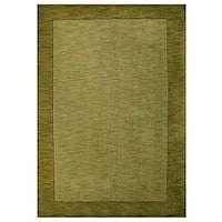 Hand-tufted Bordered Green Wool Rug - 6' x 9'