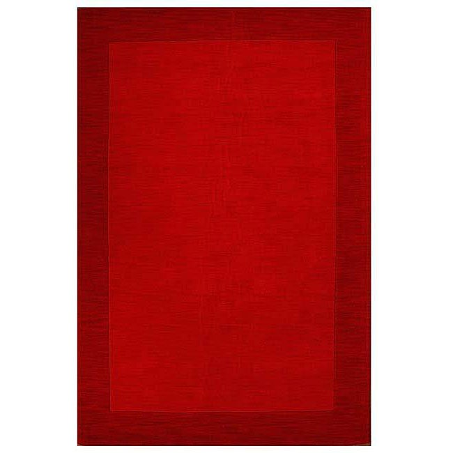 Hand-tufted Bordered Red Wool Rug (6' x 9')