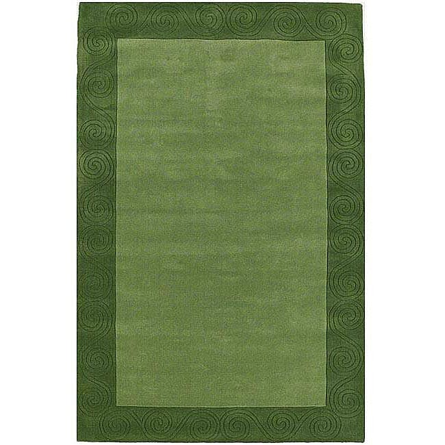 Hand-tufted Green Carving Wool Rug (6' x 9')
