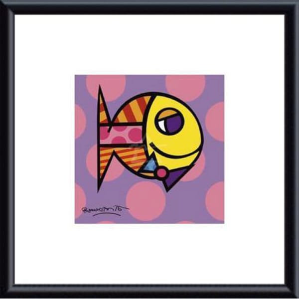 Britto 'Striped Fish' Metal Framed Art Print