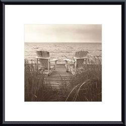 Christine Triebert 'Beach Chairs' Metal Framed Art Print