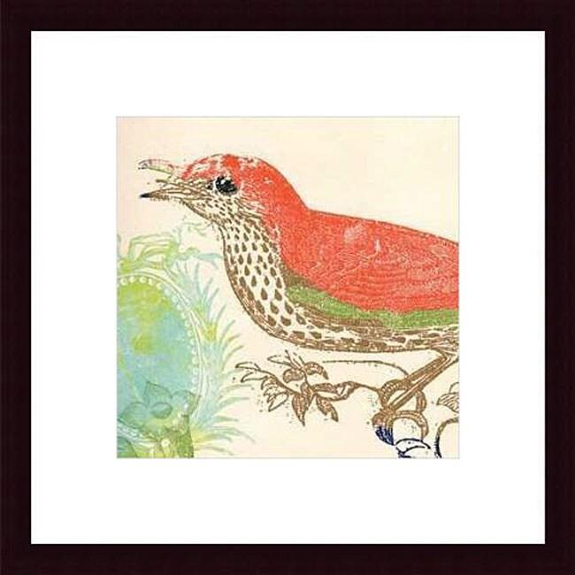 Swan Papel 'Red Bird' Wood Framed Art Print