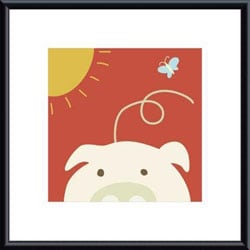 Yuko Lau 'Peek-a-Boo IV Pig' Metal Framed Art Print