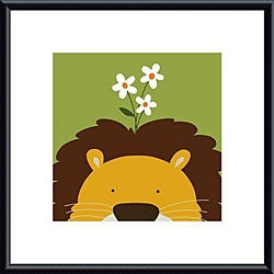 Yuko Lau 'Peek-a-Boo Lion' Metal Framed Art Print