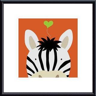 Yuko Lau 'Peek-a-Boo Zebra' Metal Framed Art Print
