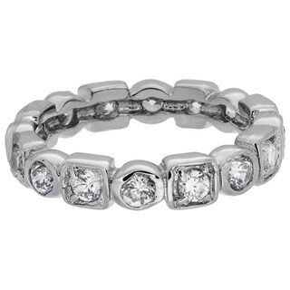 Sterling Essentials Sterling Silver Stackable Cubic Zirconia Geometric Eternity Band