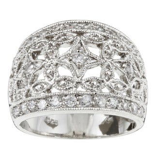 Sterling Silver Cubic Zirconia Vintage-style Dome Ring