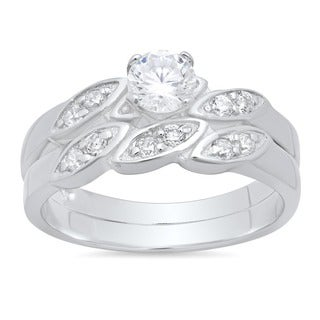 Sterling Silver CZ Engagement-style Ring Set