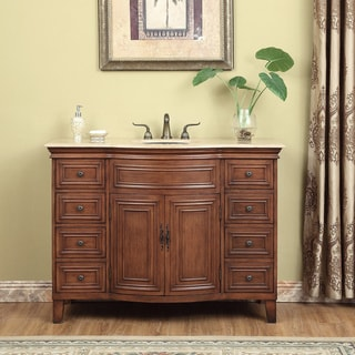 Stufurhome Yorktown 48-inch Travertine and Dark Cherry Single Sink Vanity