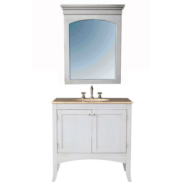 Shop stufurhome alyssa 36 inch single sink vanity set white free shipping today overstock for White bathroom vanity 36 inch