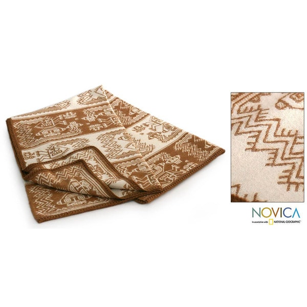 'Paracas Coast' Alpaca Wool Throw Blanket (Peru)