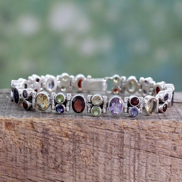 Handmade Sterling Silver Amethyst/ Garnet 'Sparkle' Bracelet (India)