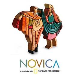 Multi-wood 'The Marinera Dance' Sculpture (Peru)