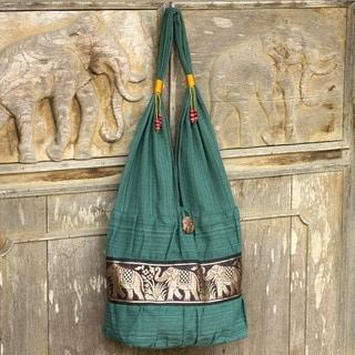 Handmade Cotton Emerald Thai Green/Gold Lined Interior Shoulder Bag (Thailand)