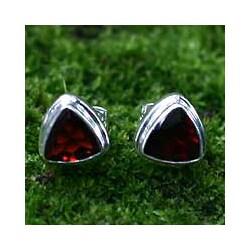 Garnet 'Fire' Stud Earrings (Indonesia)