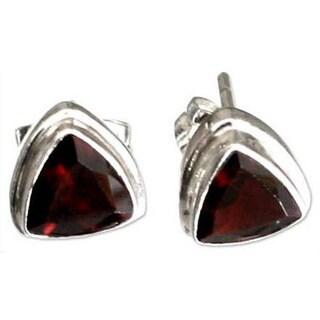 Handmade Garnet 'Fire' Stud Earrings (Indonesia)