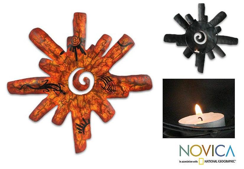 Handmade 'Cave Art Sun' Iron Candle Holder (Mexico)