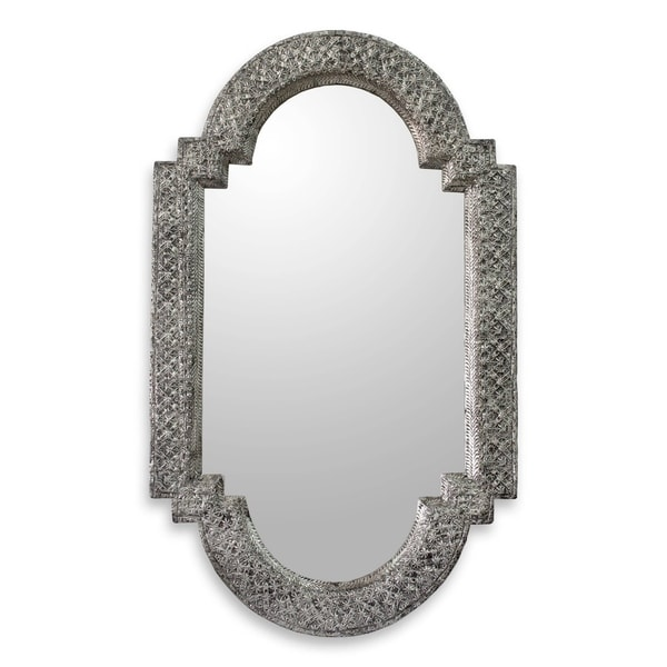 Handmade Metallic Mango Wood Palace Window Wall Mirror (India) - Silver