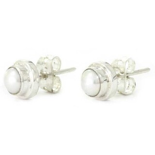 Handmade White Moon Vintage Fashion Women's Clothing Accessory Sterling Silver Classic Pearl Jewelry (Indonesia)